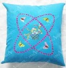 blue cushion cover silk ribbom embroidery