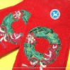 cotton christmas embroiedry face towel