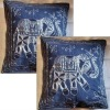 "cotton cushion cover with silver zari embroidery 16"" square"