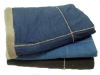 cotton jean sewn to sherpa patchwork blanket