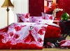 cotton satin red bedding