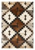 cow hide leather patchwork rug or carpet made in india custom size possible