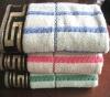 dobby stripe bath towel with jacquard on the border