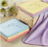 embroidery microfiber towel with solid color