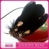fashion feather headband with stone