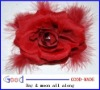 flower hair clip red rose with feathers rhinestone