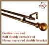 golden iron rod,Ball double curtain rod,home decro rod double bracket