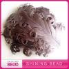 grey curly feather headband