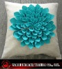 hand made 3d floral cushion cover in poly linen fabric