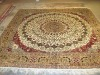 handknotted square silk carpet
