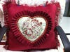 heart shape/suede fabric embroidered cushion cover