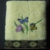 jacquard bath towel with embroidery and border