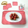 light red  bright yarn surface PU linen back coasters and table placemats