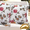 linen cotton square fresh fragrance red floral print Europe pastoral style pillow
