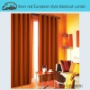 linen red European style blackout curtain