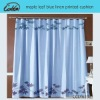 maple leaf blue linen printed curtain