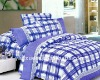 new design blue grids reactive printed bedding set