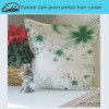 pastoray style green printed linen cushion