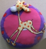 plush & stuffed Round Cushion,decorated with Embroidery Giraffe -08122B