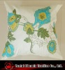 poly silk applique and embroidered floral cushion cover