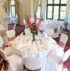 polyester chair cover with organza sash for party