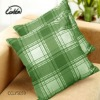 polyester/cotton printed grid green cushion