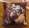 polyester cushion ,pillow,chair cushion cover,jacquard cat design cushion,home textile