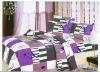 purple grid twill bedding set