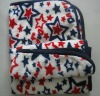 red and blue star coral fleece children blanket