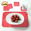 red  bright yarn surface PU linen back coasters and table placemats