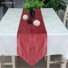 red polyester print restaurant table runner