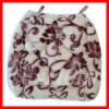 reversible  floral embroidery cotton chair pads seat cushion
