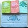 solid bath towel with applique