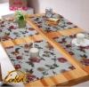 unique rectangle linen cotton  jacquard printed style dining table mat