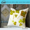 white and yellow cotton woven clover cushion