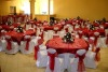 white wedding banquet chair covers and sashes