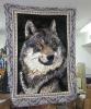 wolf skin polyester mink blanket SKU80917