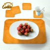 yellow bright yarn surface PU linen back coasters and table placemats